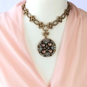 New! Express Gold Necklace & Floral Color Pendant